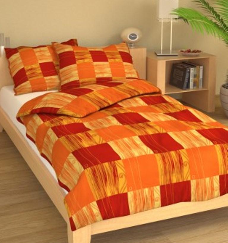 Povlečení francouzské krep 200x200, 70x90 Čtverečky oranžové, Výběr zapínání: