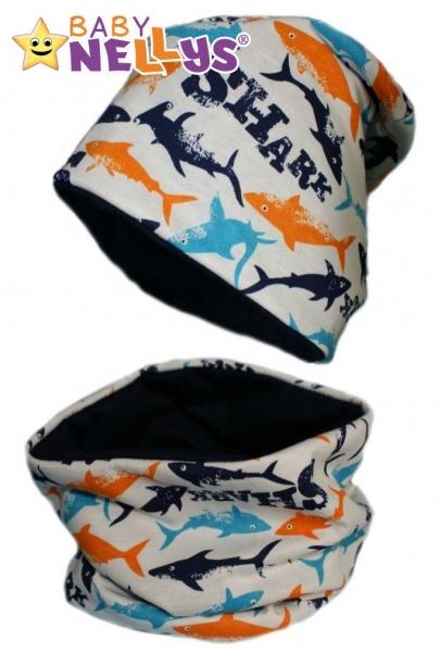 Bavlněná sada čepička a nákrčník se žraloky Baby Nellys ® - 50/52 čepičky obvod
