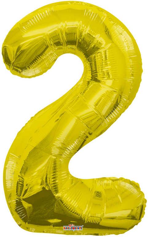 Party balonek nafukovací 35cm Číslice 2 zlatý malý foliový plnění vzduchem