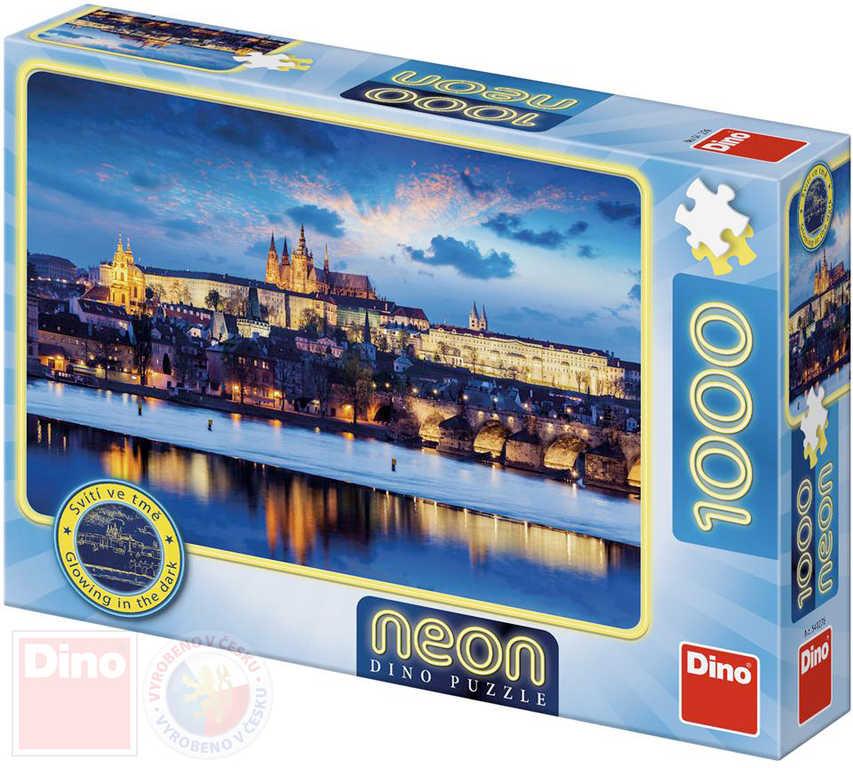 DINO Puzzle Praha neon XL 66x47cm skládačka 1000 dílků svítící