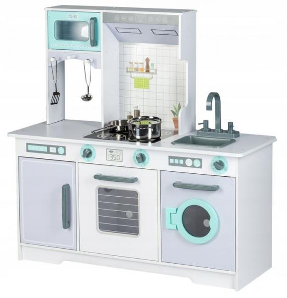 Eco Toys Dřevěná kuchyňka s příslušenstvím, 96,5 x 96 x 37 cm - šedá