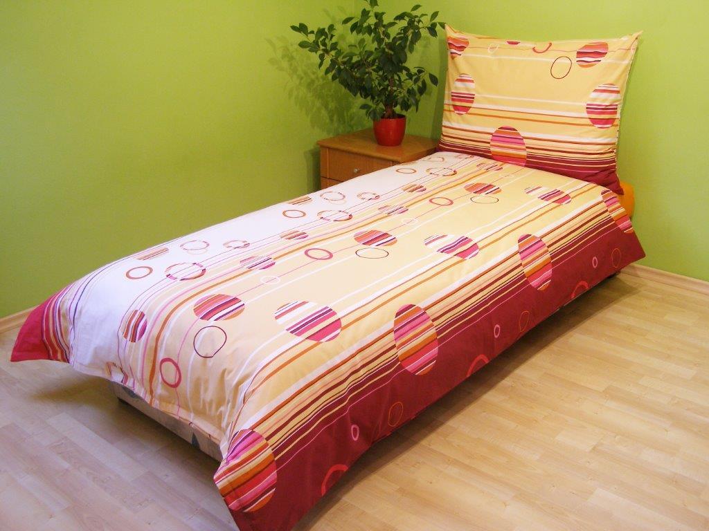 Povlečení bavlna 140x200, 70x90cm Kruhy lila, Výběr zapínání: