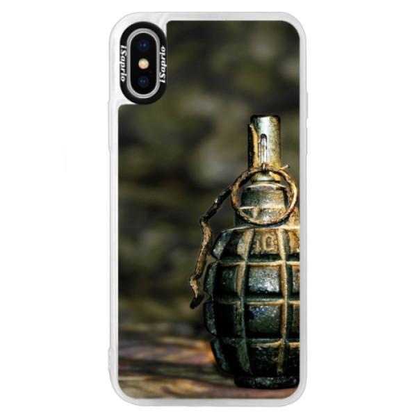 Neonové pouzdro Blue iSaprio - Grenade - iPhone XS