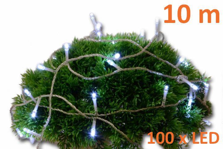 Vánoční LED osvětlení 10m s časovým spínačem - studeně bílé, 100 diod