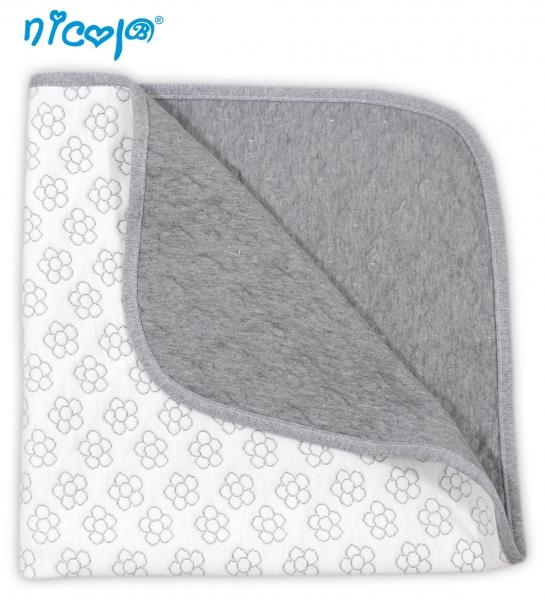 Dětská deka, dečka Lady - bílá/šedá s potiskem květin