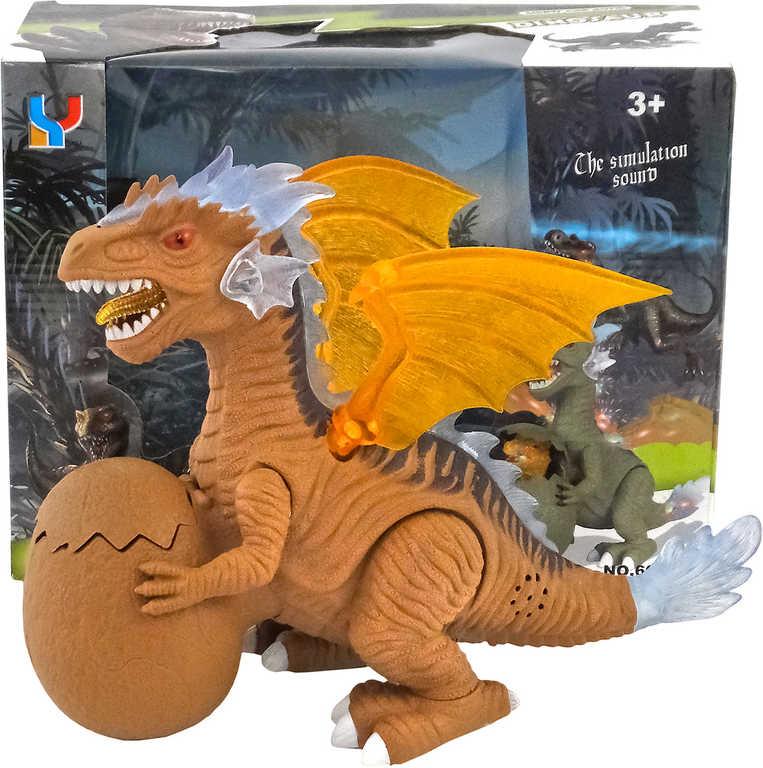 Dinosaurus s vejcem s mládětem na baterie mává křídly Světlo Zvuk