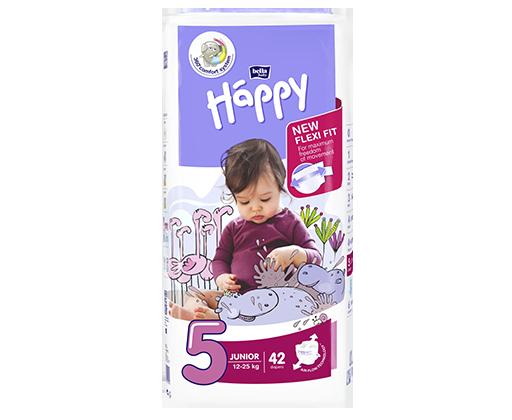 Happy Junior, dětské pleny jednorázové od 12 do 25 kg, 42 ks