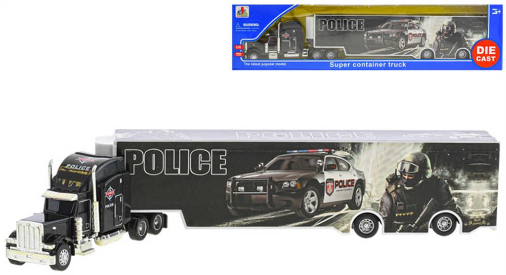 Kamion policie 35cm auto kovové volný chod v krabici