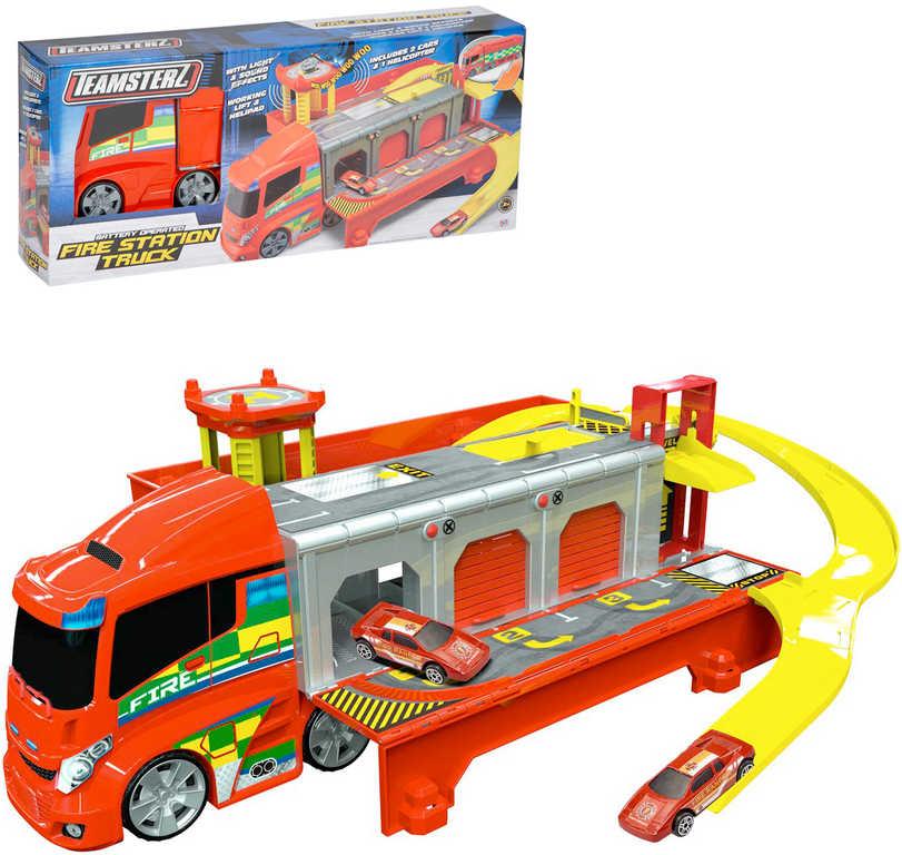 Teamsterz tahač hasičská stanice set se 2 autíčky a vrtulníkem na baterie Světlo Zvuk