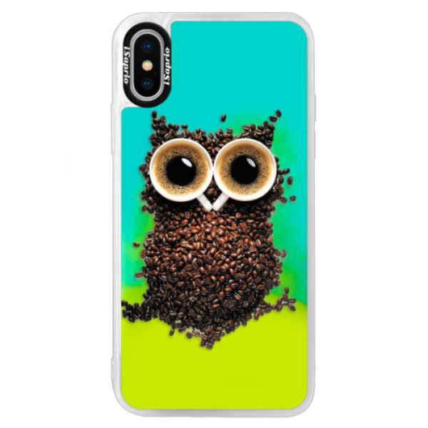 Neonové pouzdro Blue iSaprio - Owl And Coffee - iPhone X