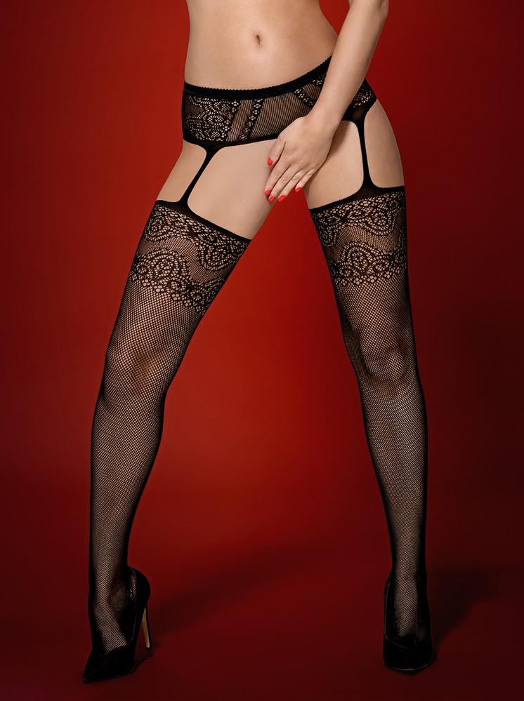 Podvazkový pás s punčochy Garter stockings S225 - Obssesive - Černá/S/M/L