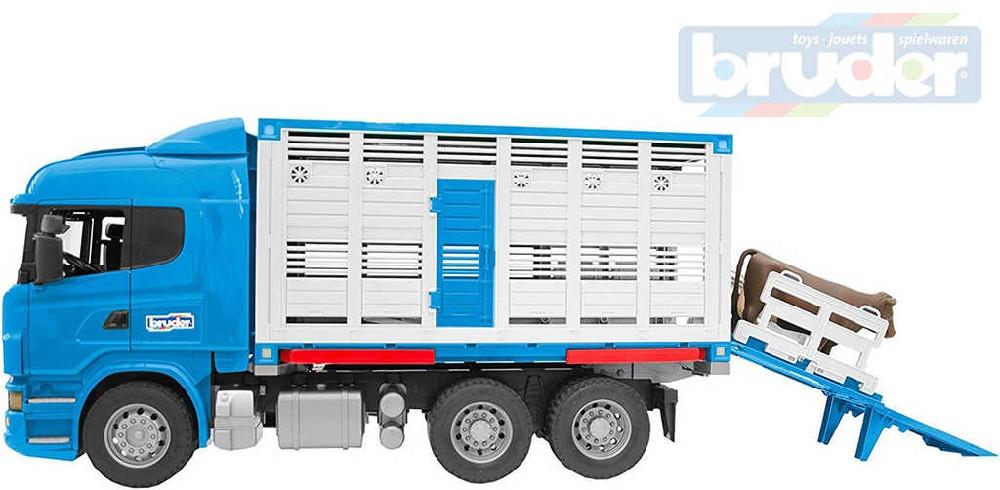 BRUDER 03549 Auto Scania R-Serie přepravník skotu set se zvířetem 1:16 plast