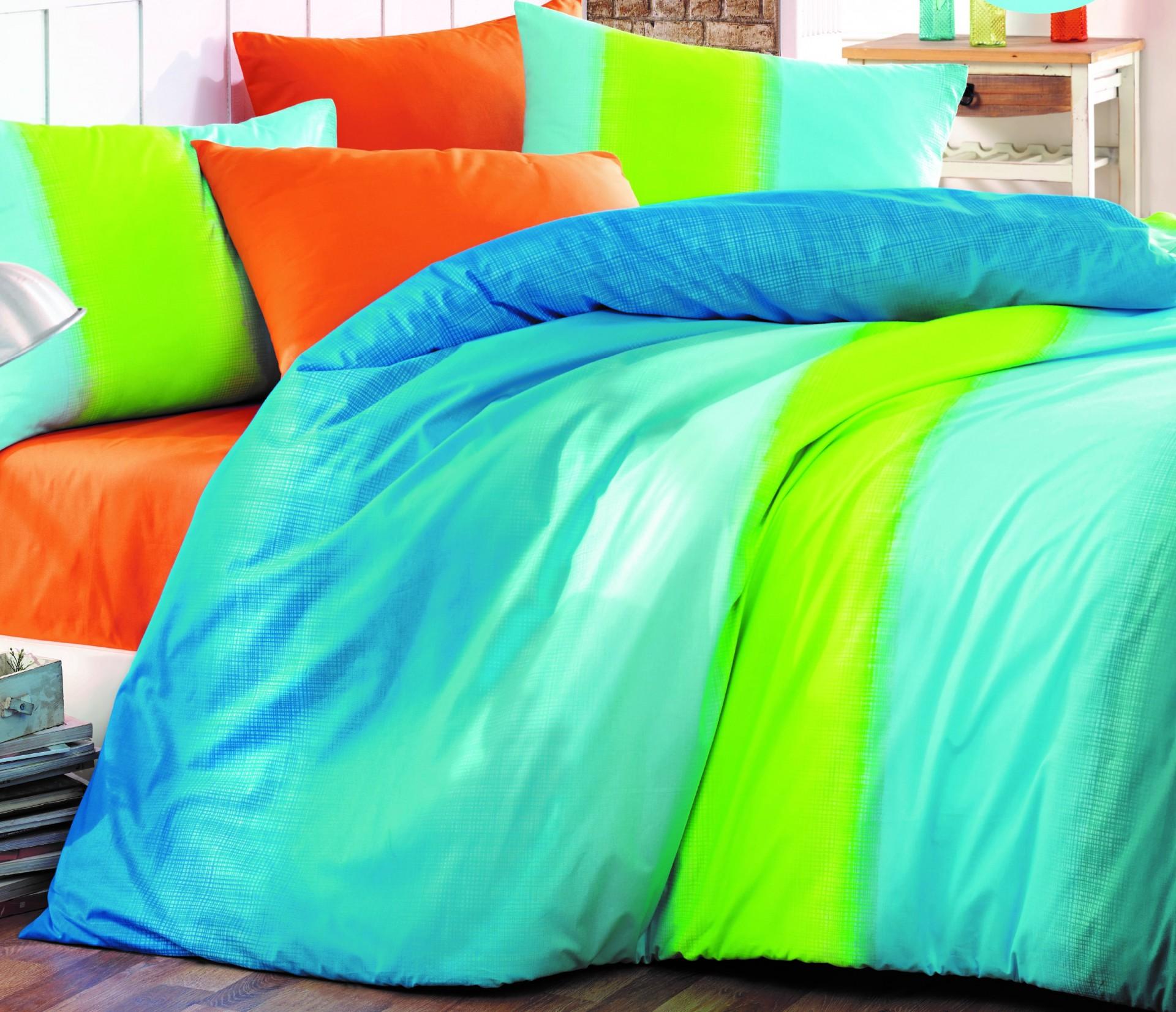 Povlečení francouzské bavlna 240x200,70x90 Colorful blue, Výběr zapínání: