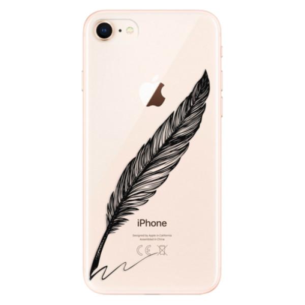 Odolné silikonové pouzdro iSaprio - Writing By Feather - black - iPhone 8