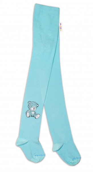 Bavlněné punčocháče - Sweet Teddy - mátové, vel. 92/98 - 92/98
