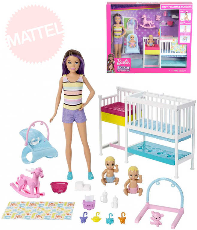 MATTEL BRB Dětský pokojík herní set panenka Barbie s doplňky