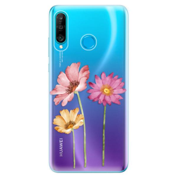 Odolné silikonové pouzdro iSaprio - Three Flowers - Huawei P30 Lite