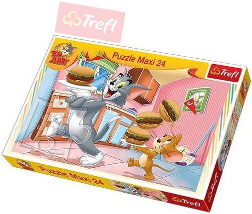 TREFL PUZZLE Disney Tom a Jerry: Vydatná snídaně 24 dílků 60x40cm 114210