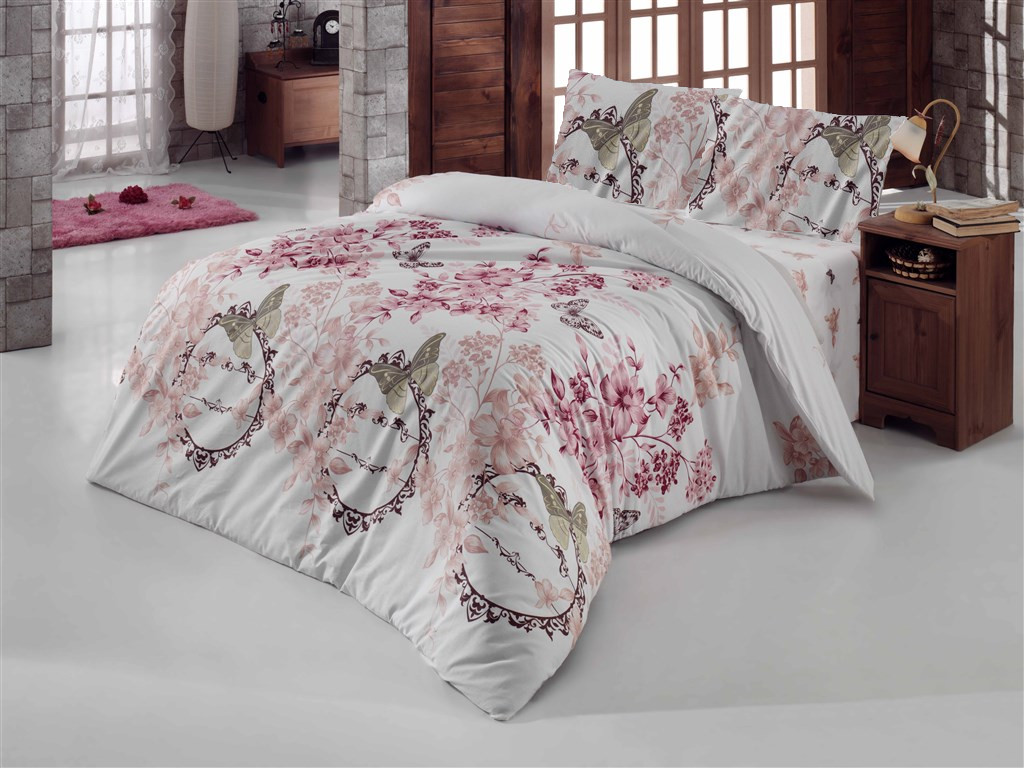 Povlečení francouzské bavlna 220x220, 70x90 Romantika bílá, Výběr zapínání: