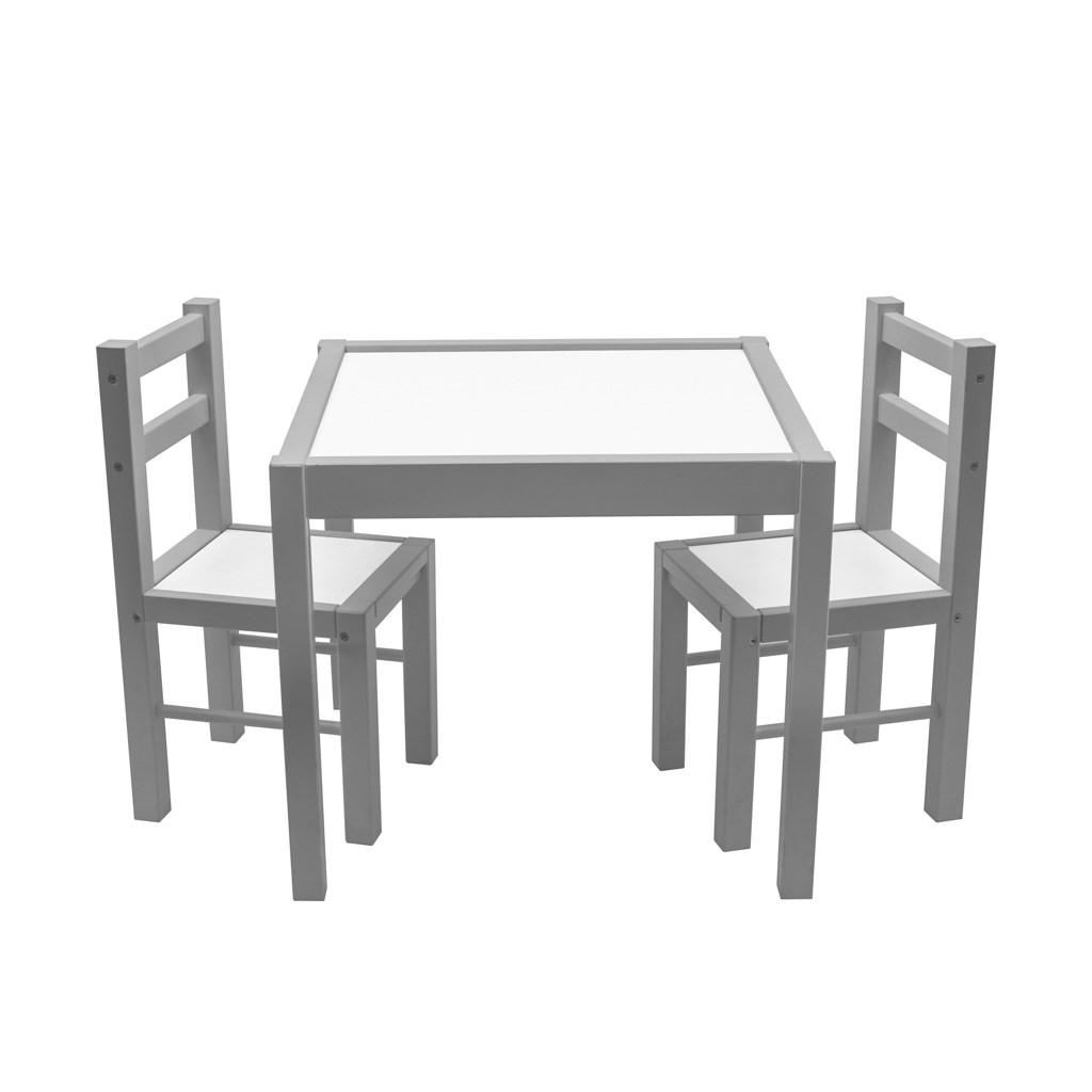 Dětský dřevěný stůl s židličkami New Baby PRIMA šedý - šedá