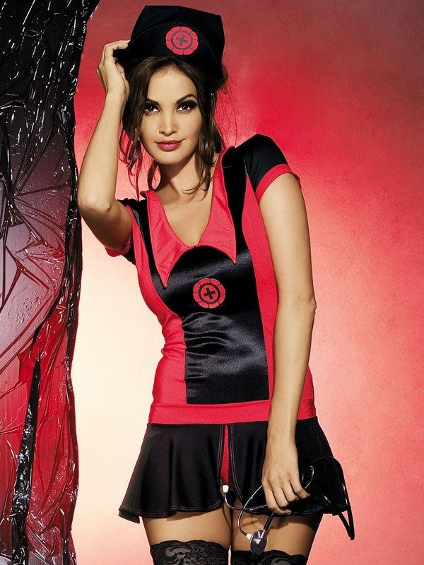 Sexy kostým Obsessive Naughty nurse dress - Černá/červená - S/M