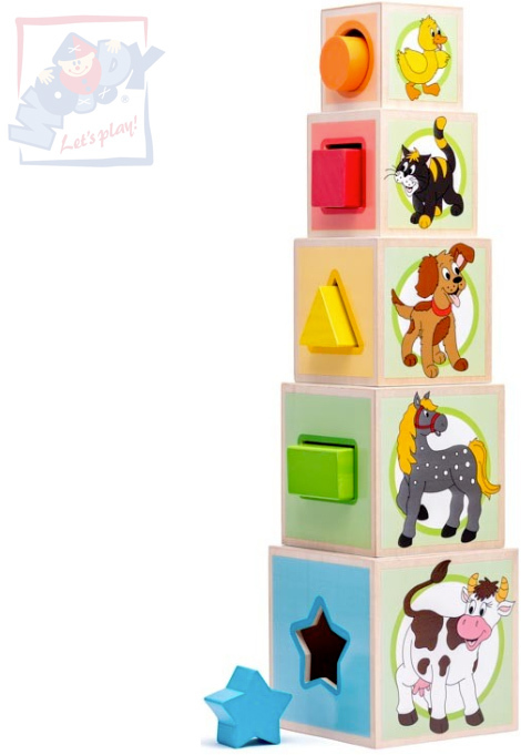 WOODY DŘEVO Věž zvířátka set 5 kostek s vkládacími tavry *DŘEVĚNÉ HRAČKY*