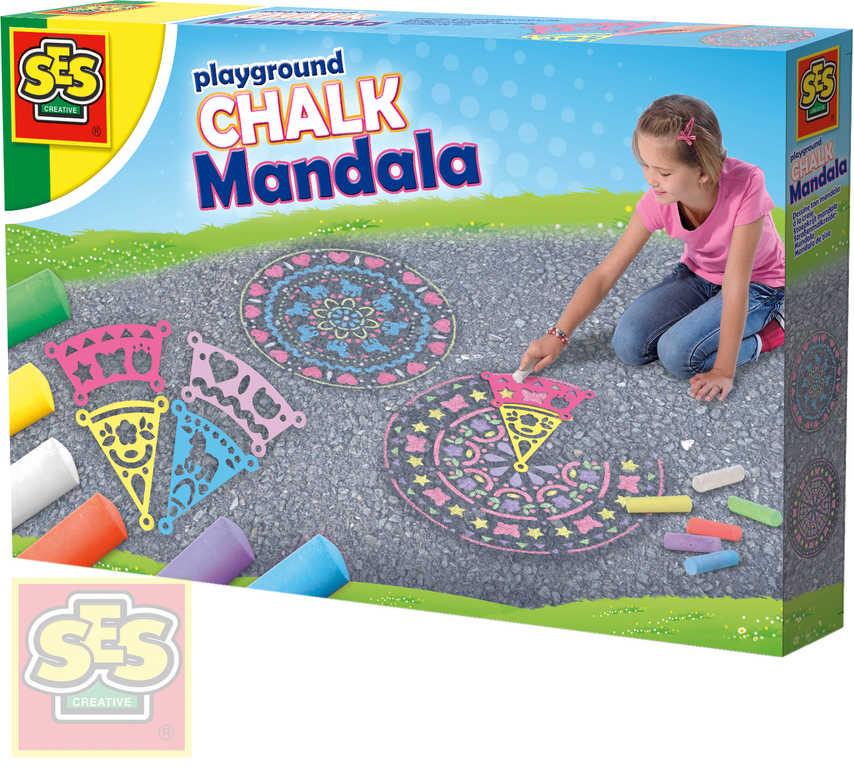 SES CREATIVE Křídy chodníkové dětské barevné set 6ks se šablonami mandala