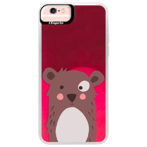 Neonové pouzdro Pink iSaprio - Brown Bear - iPhone 6 Plus/6S Plus