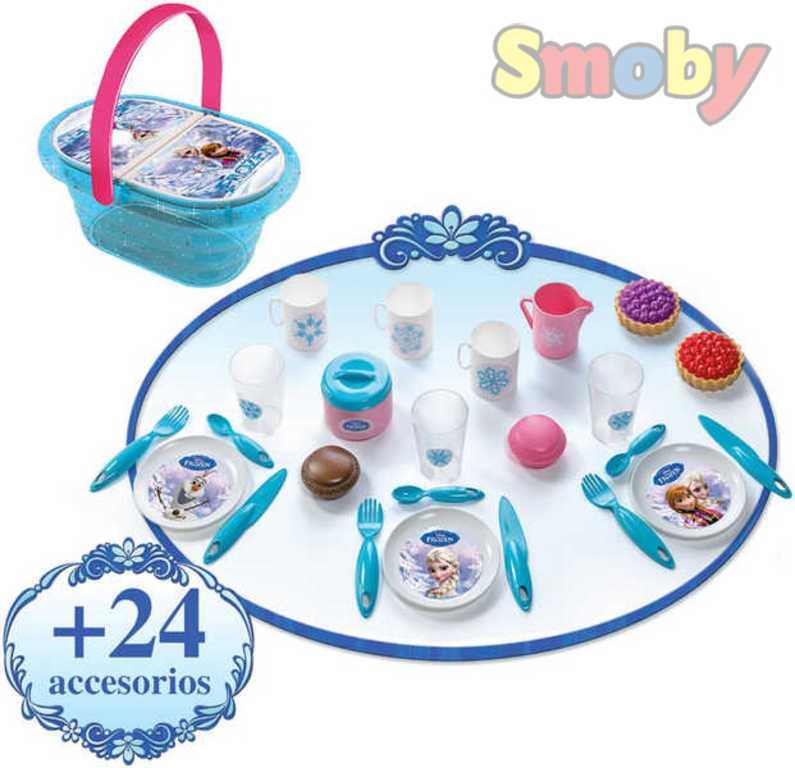 SMOBY Dětská sada nádobí Koš piknikový set s nádobím a doplňky Ledové Království