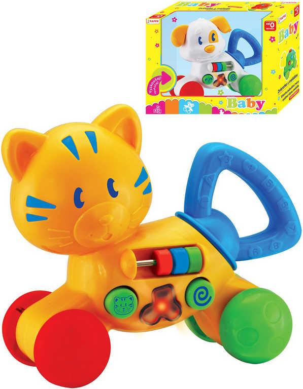 Baby zvířátko aktivní kočka / pes na kolečkách na baterie Světlo Zvuk 2 druhy