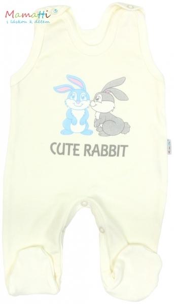 Souprava do porodnice v krabičce Mamatti - CUTE RABBIT - smetanová - 62 (2-3m)