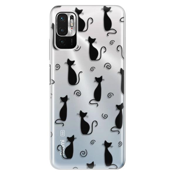 Odolné silikonové pouzdro iSaprio - Cat pattern 05 - black - Xiaomi Redmi Note 10 5G