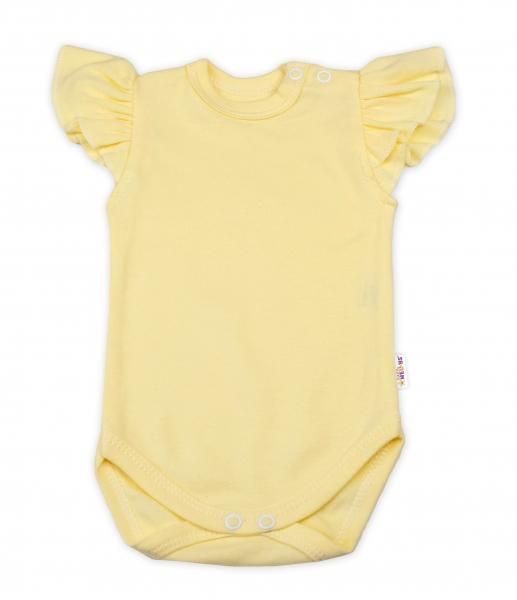 Baby Nellys Bavlněné body Nikolka, krátký rukáv s volánkem