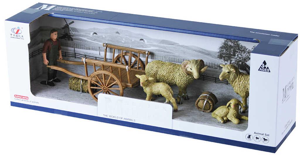 Herní set figurka farmář s vozem a ovcemi v krabici plast