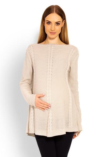 Elegantní těhotenský svetřík tunika - béžový - UNI b0b09e00a6