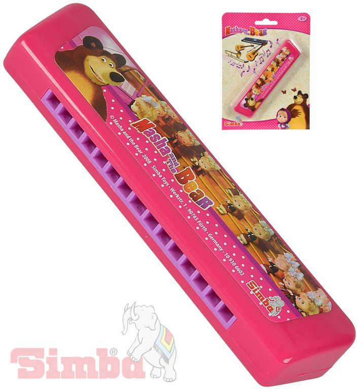 SIMBA Harmonika foukací Máša a medvěd růžová 15cm *HUDEBNÍ NÁSTROJE*