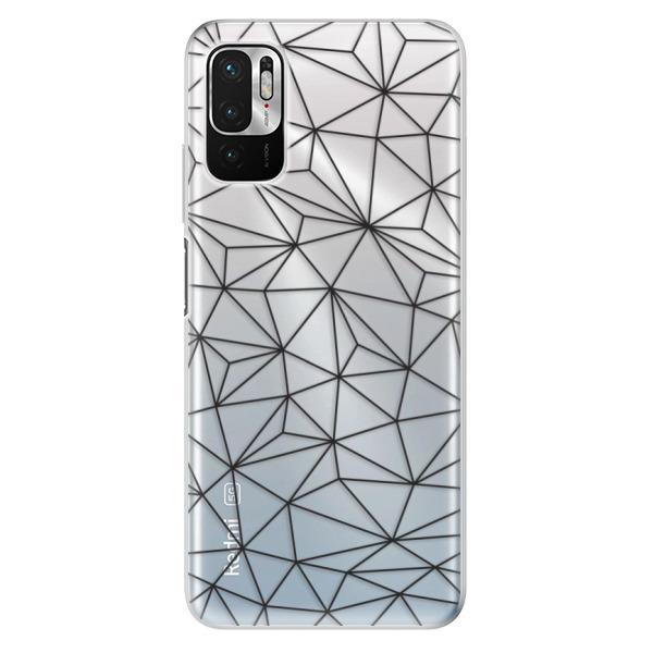 Odolné silikonové pouzdro iSaprio - Abstract Triangles 03 - black - Xiaomi Redmi Note 10 5G