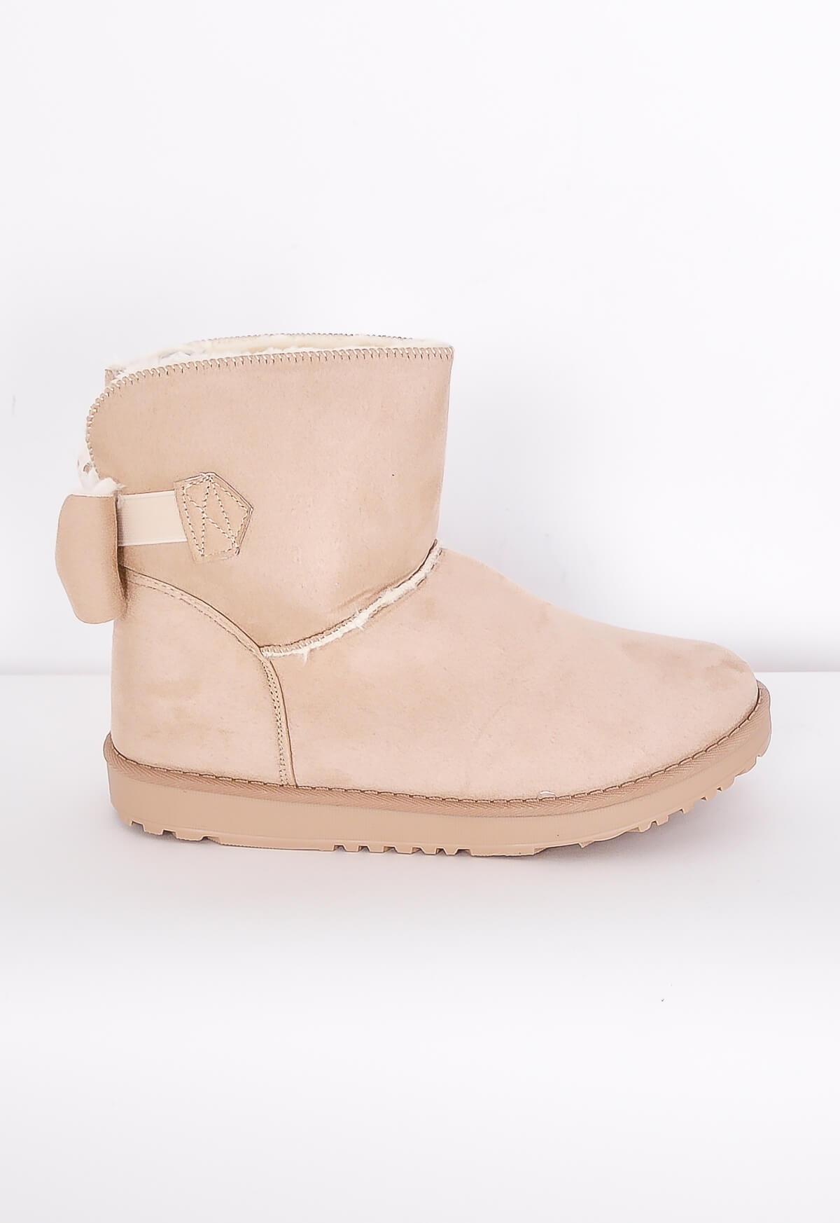 Dámské boty typu válenky s mašlí - Pudrově