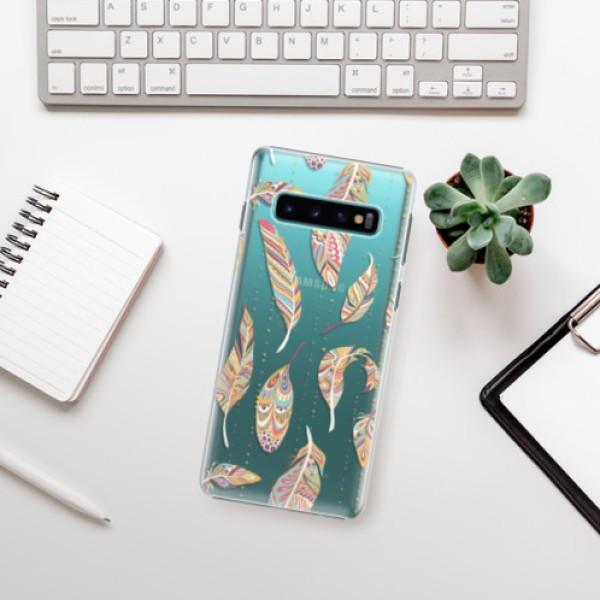 Plastové pouzdro iSaprio - Feather pattern 02 - Samsung Galaxy S10