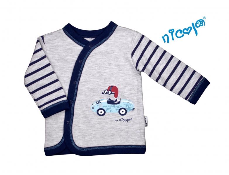 Novorozenecká bavlněná košilka Car - zapínání bokem - šedá s