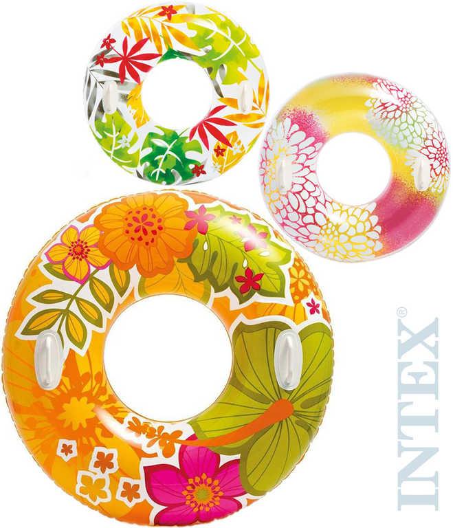 INTEX Kruh plavací dětský s ručkou květy 97cm maxi do vody 3 druhy 58263