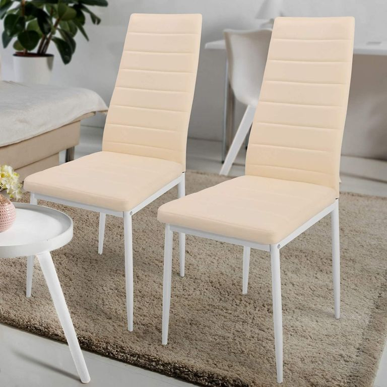 Sada jídelních židlí s PU kůže, béžové, 2 ks