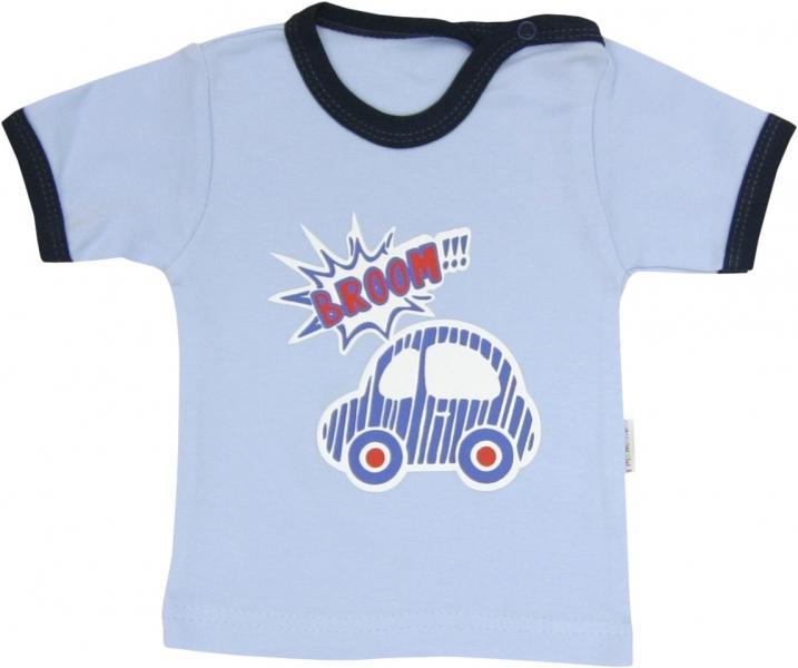 Bavlněné tričko Veselé autíčko - krátký rukáv, roz.