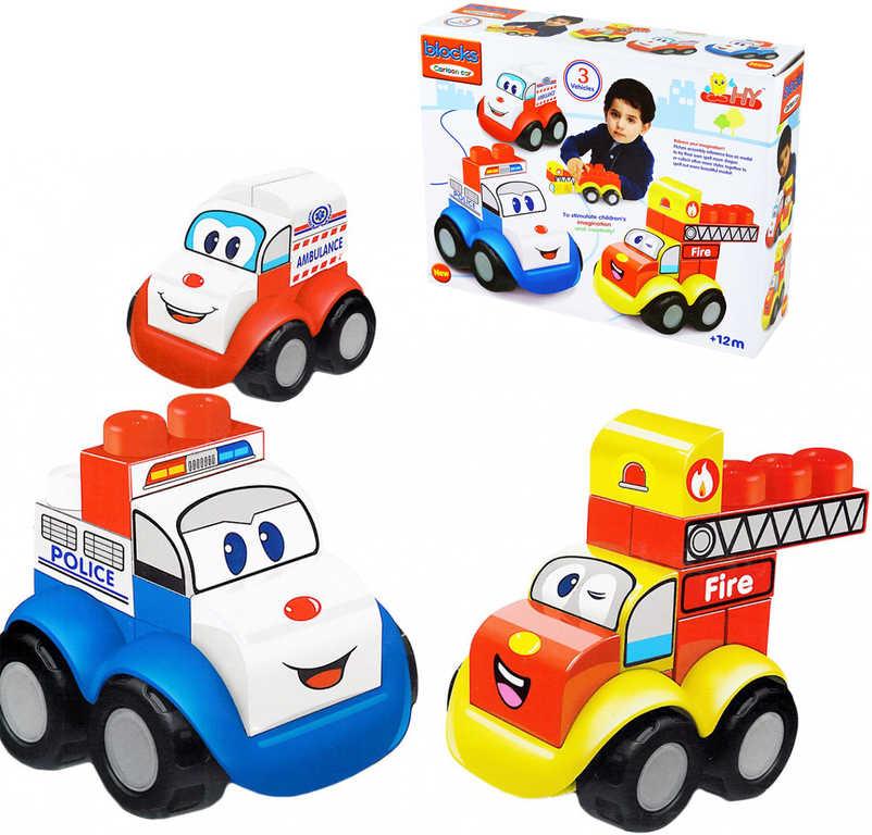 Stavebnice veselá autíčka s obličejem set se samlepkami 3v1 velké dílky plast