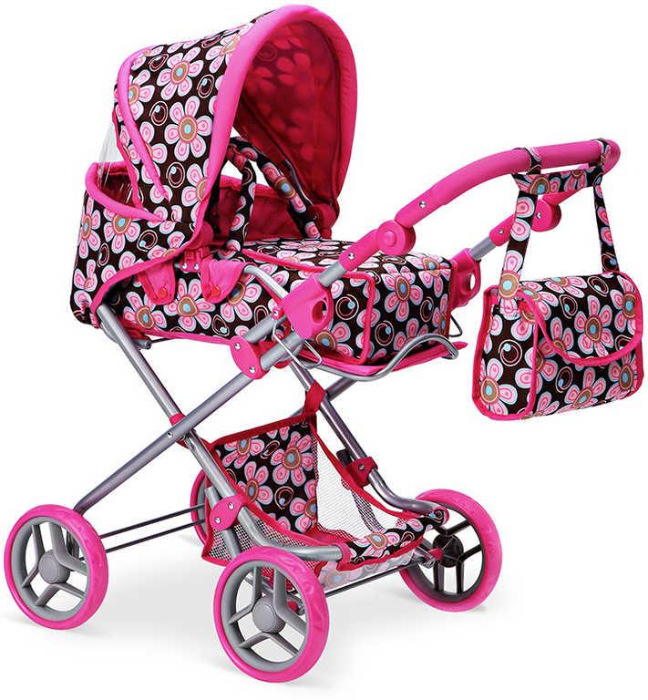 Kočárek hluboký s kvítky růžovo-černý 46x80x30cm pro panenku miminko kov