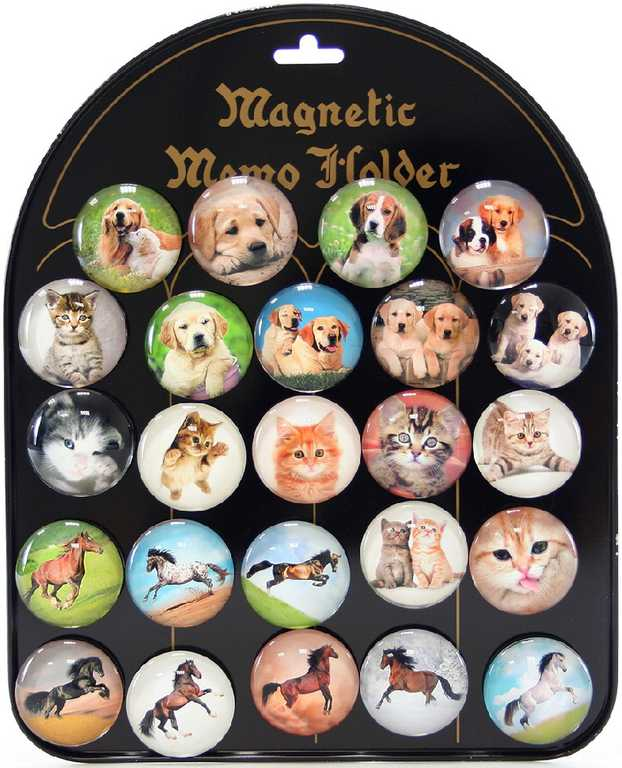 Magnetky dětské kulaté psi / kočky / koně samostatné 4cm různé druhy