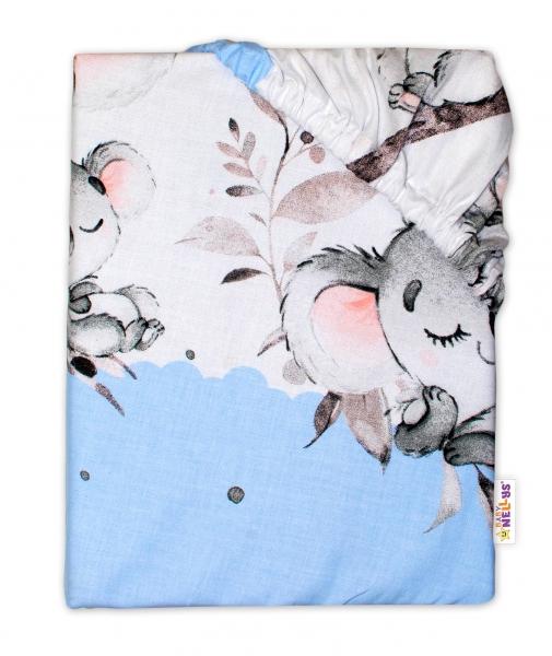 Baby Nellys Dětské bavlněné prostěradlo do postýlky - Medvídek Koala, modrá - 120x60