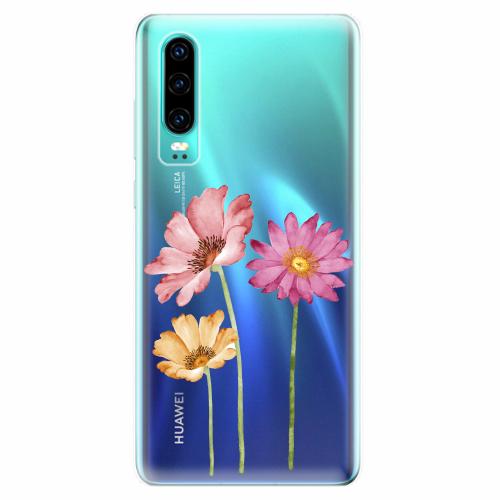Silikonové pouzdro iSaprio - Three Flowers - Huawei P30