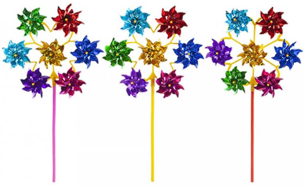 Větrník barevný 7 růžic 7v1 na tyčce 52cm 3 barvy