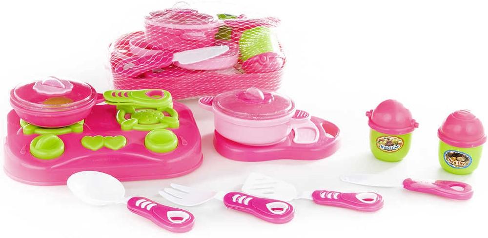 Kuchyňský plastový set barevné nádobí s vařičem a prkýnkem růžovo-zelené v síťce